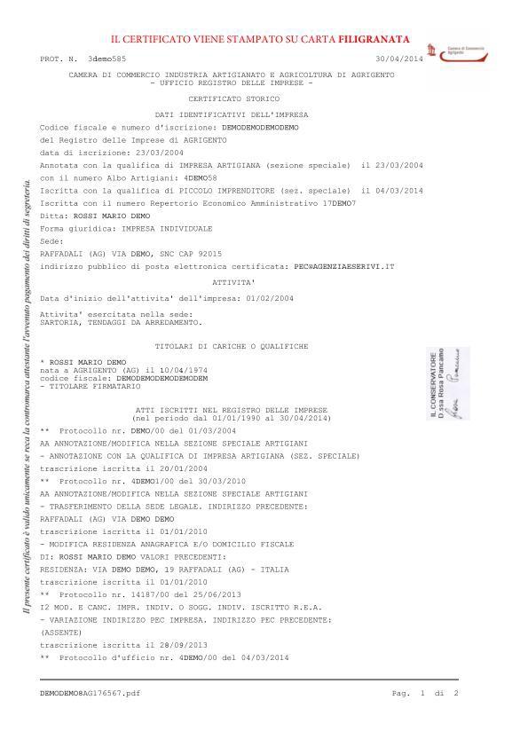 Certificato camerale storico pag.1